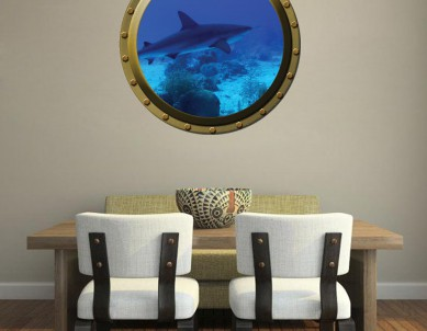 Submarine window illusion Wall Sticker
