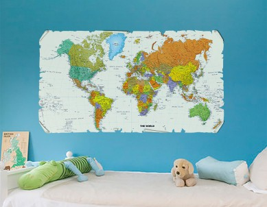 World Map in a Scroll Wall Sticker