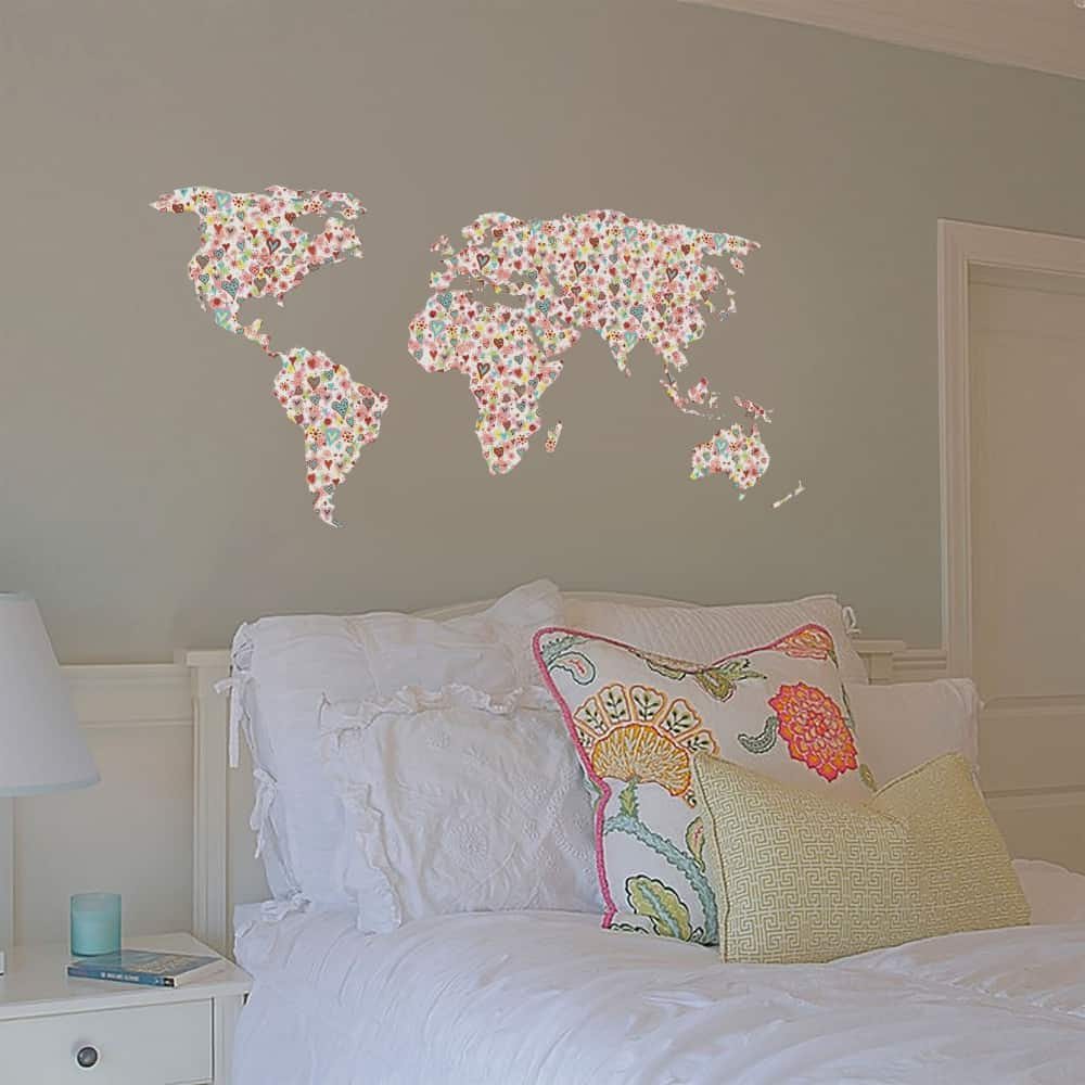 Flowers & Hearts Pattern World Map Kids room decal