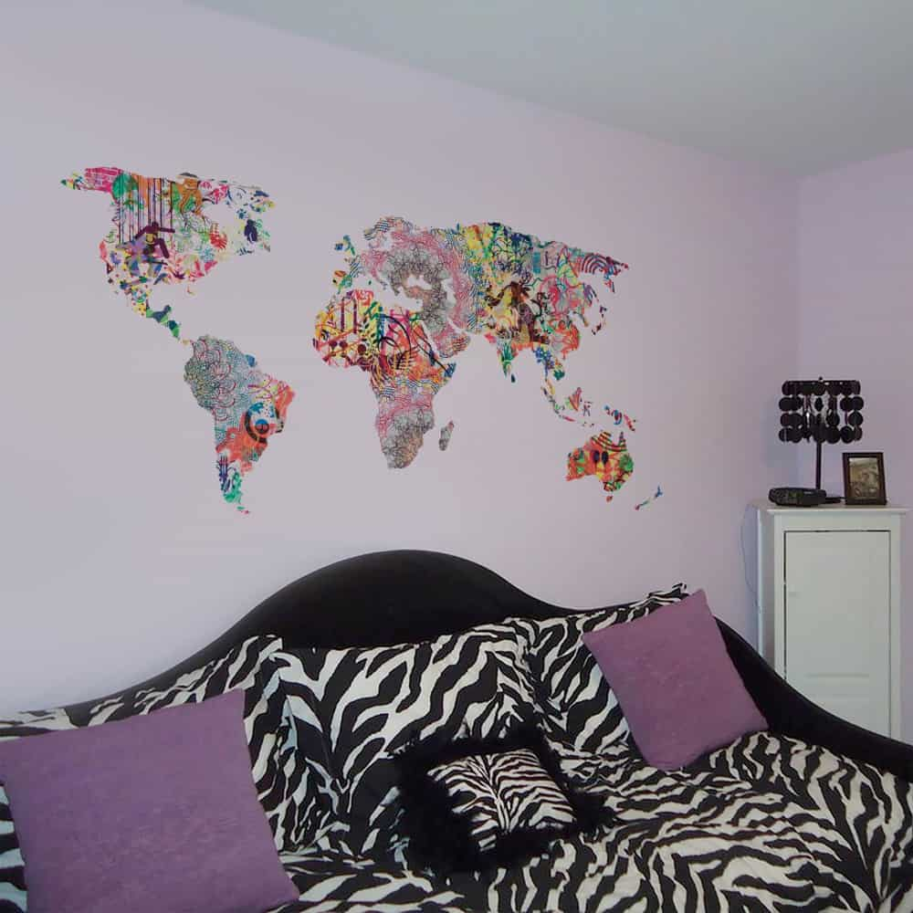 Graffiti World Map Living room decal