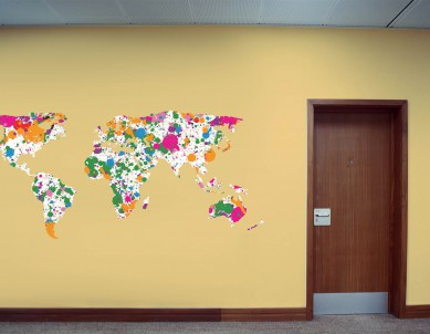Graffiti World Map Wall Sticker