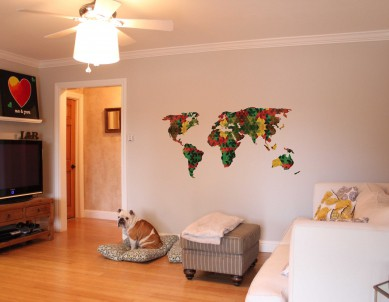Triangle Pattern World Map Wall Sticker
