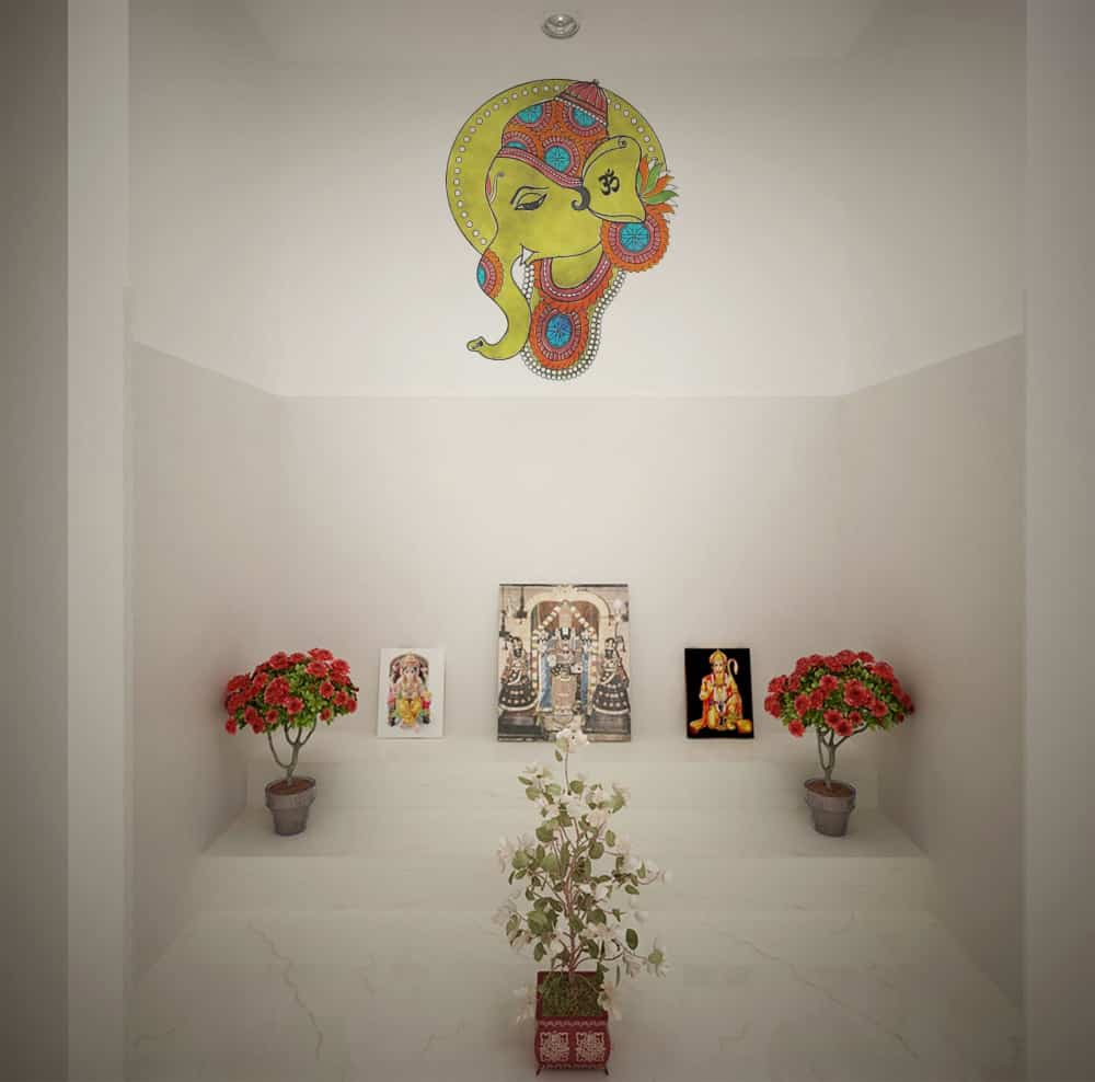 Ganesha water colour Pooja room sticker