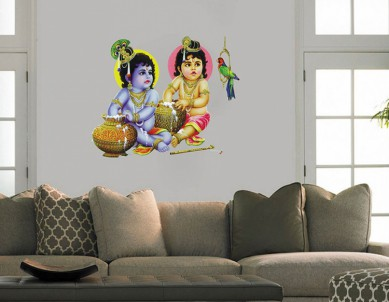 Krishna Balaram Wall Painting Wall Sticker