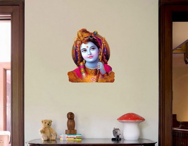 Beautiful Krishna Painted Wall Sticker