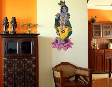 Krishna on a Lotus Painted Wall Sticker