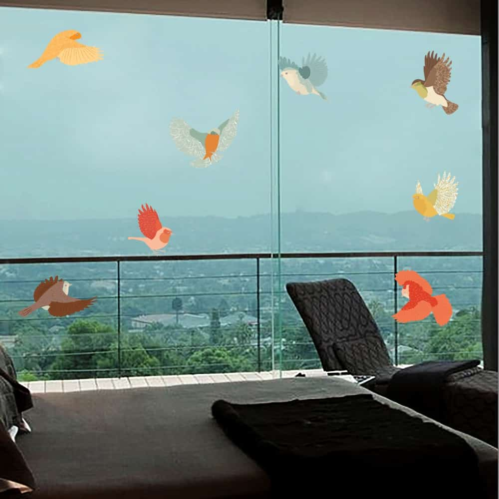 Colourful Frost Birds Balcony room sticker