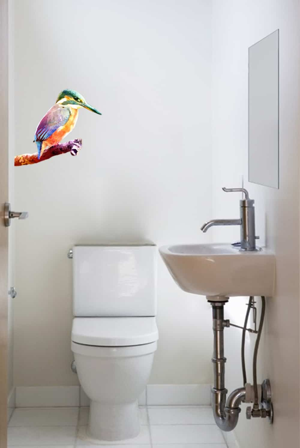 Kingfisher on Branch Water Colour Style Bathroom sticker