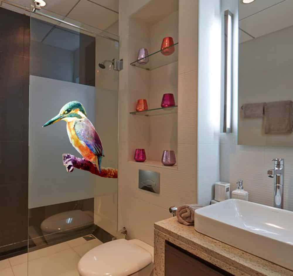 Kingfisher on Branch Water Colour Style Bathroom2 sticker