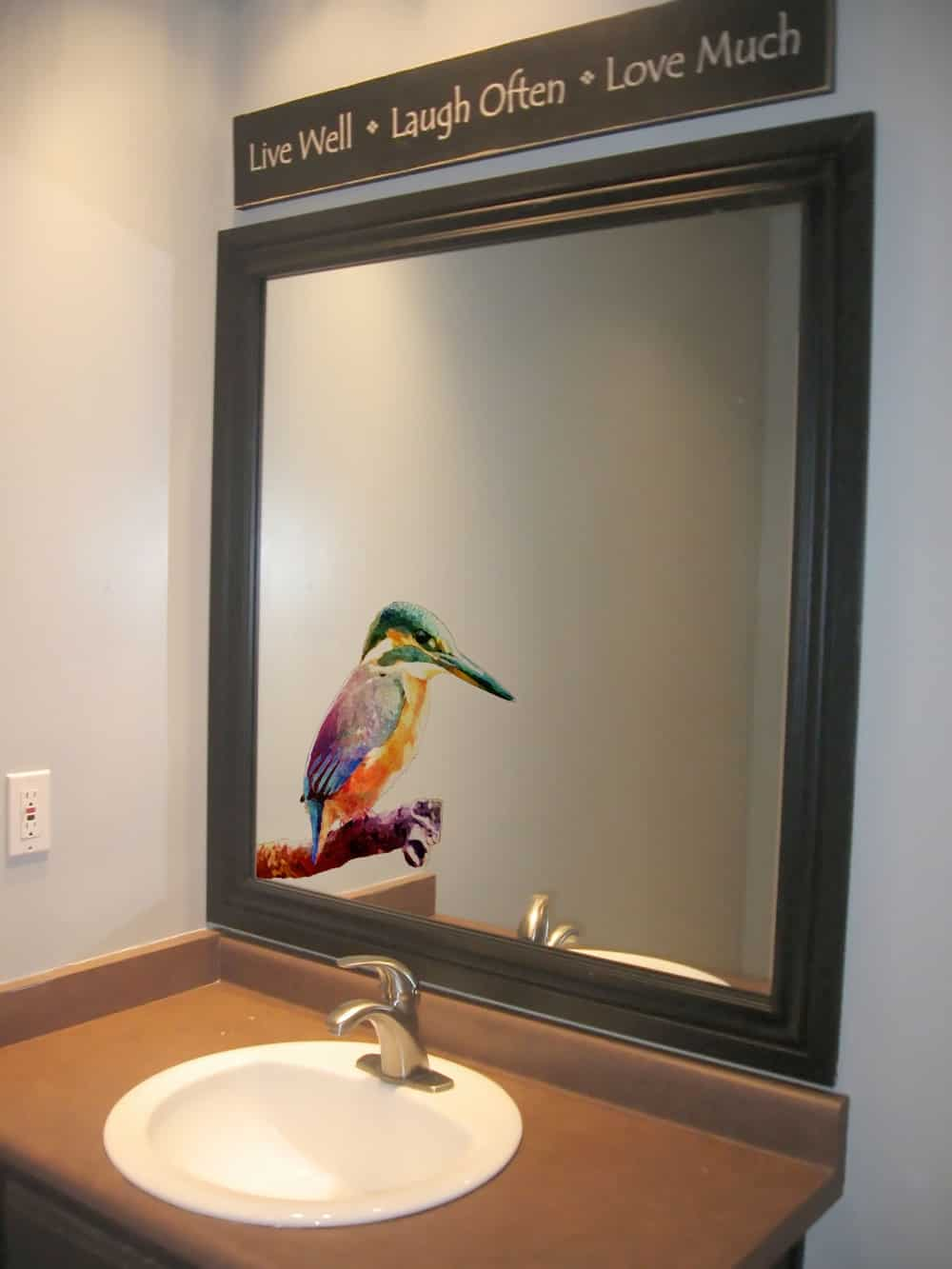Kingfisher on Branch Water Colour Style Glass3 room decal