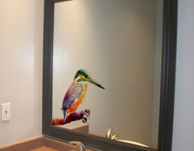 Kingfisher on Branch Water Colour Style Glass Sticker