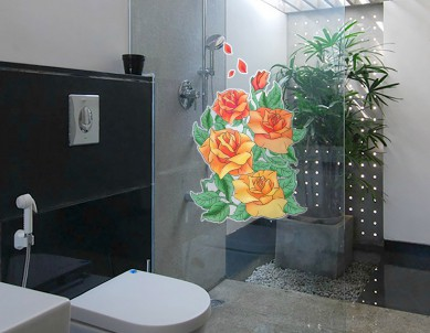 Coloured Roses Glass Sticker
