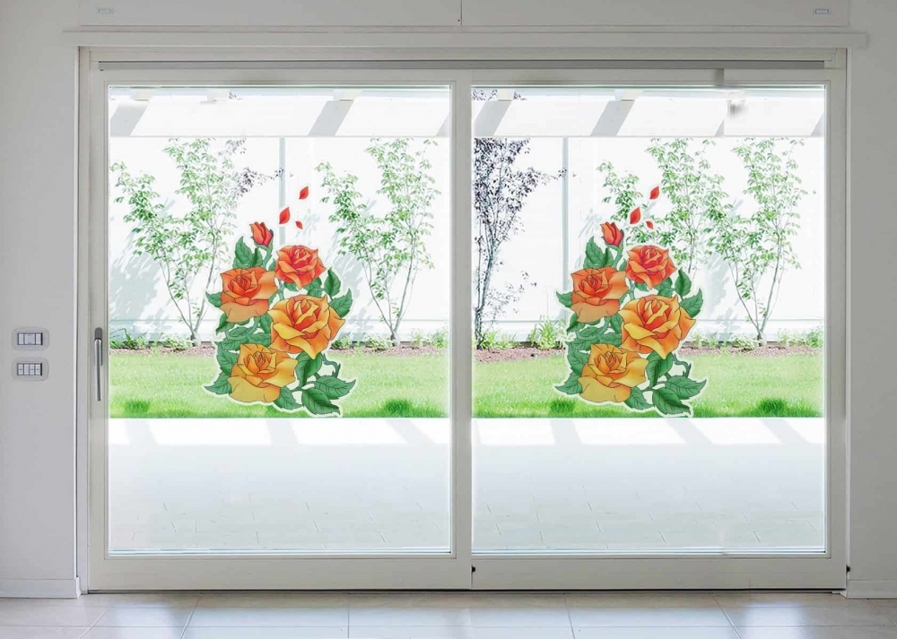Coloured Roses Glass room decal