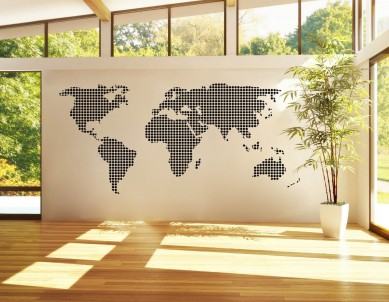 Dotted Silhouette Map Decal Wall Sticker