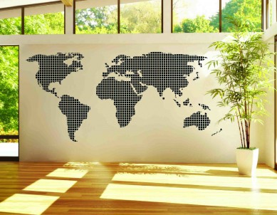 Squares Silhouette Map Decal Wall Sticker
