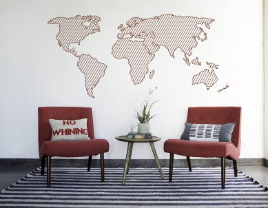 Line Silhouette Map Decal Wall Sticker