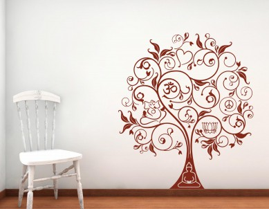 Om Peace Ganesha Buddha Tree Wall Sticker
