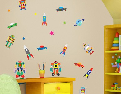 Robots Colour-blast Wall Sticker