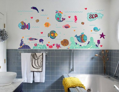 Sea, life, colours & patterns Wall Sticker
