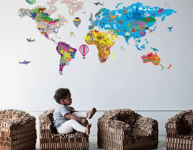 Illustrated World Map Decal for Kids Wall Sticker