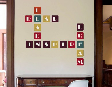 Colorful Square Letters Crossword Wall Sticker