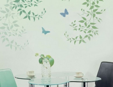 Delicate Leaves & Butterfly Paint Stencil