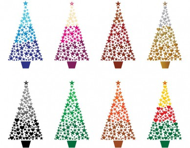 Multicolour Christmas Heart and Stars Trees Wall Sticker