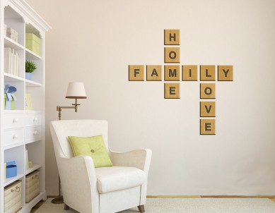 Wooden Letters Crossword Game Wall Sticker