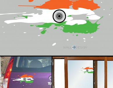 India Flag Jai Bharath Flag Car Stickers for Body / Glass / Wall – Colour Splash Design