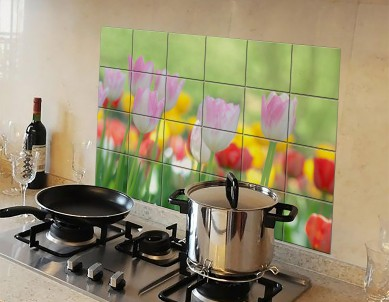 Kitchen Protection Anti-Mark Oil Proof Easy Clean Plastic Wall Stickers Multicolor Tulips