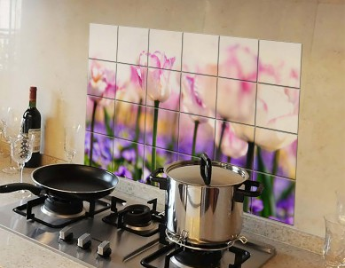 Kitchen Protection Anti-Mark Oil Proof Easy Clean Plastic Wall Stickers Pink Tulips