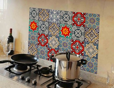 Kitchen Protection Anti-Mark Oil Proof Easy Clean Plastic Wall Stickers Mosaic Tiles Design