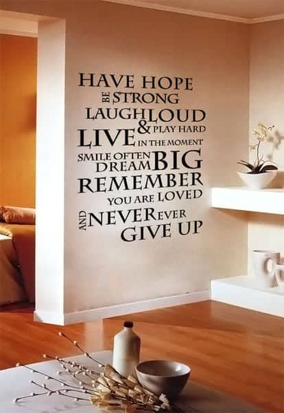 40+ ideas to decorate your interiors with quotes and words on