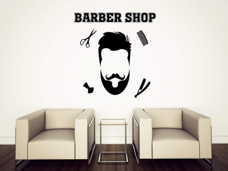 Top 50 Barber Shop Design Ideas Using Vinyl Stickers and Printed Decal