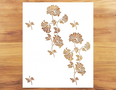 Growing Poppies Pattern Paint Stencil