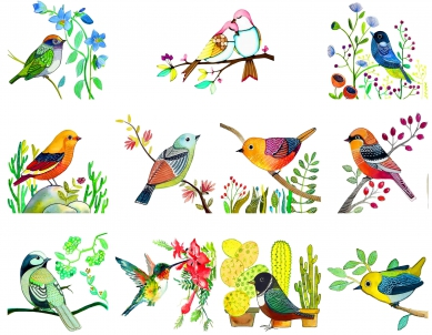 Birds & Branches Painting Art – Big Size Switchboard Sticker