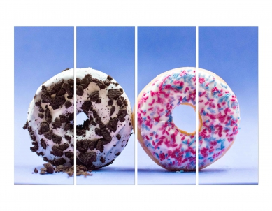 Two Donuts with Brown Pink & Blue Chocolate Spreaded Wall Wall Painting