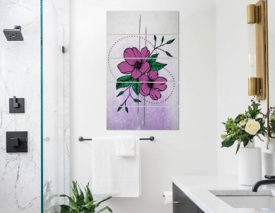 Artificial Purple Flower with Leaves Wall Photo Print
