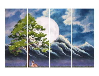 Tree with Summits & Cloudy Sun Wall Art Painting
