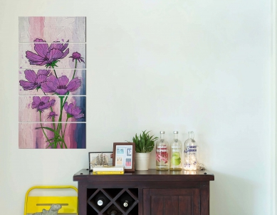 Artificial Purple Flower Plant Painting Wall Art Painting