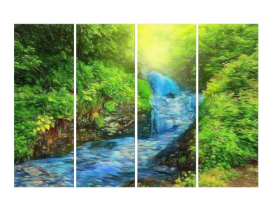 Beautiful River Flowing in Forest Painting Wall Painting