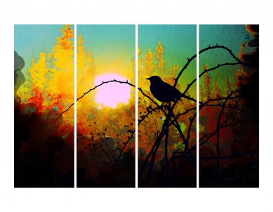 Silhouette of a Bird at Sunset Painting Wall Photo Print