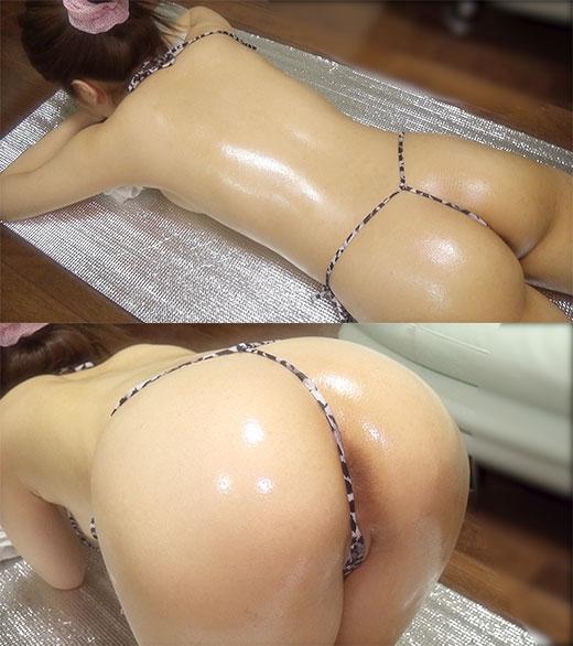 ☆Kモデル あきなちゃんシリーズ③ ローションマッサージ ヒョウ柄Vフロント 過激水着ではみ出る寸前