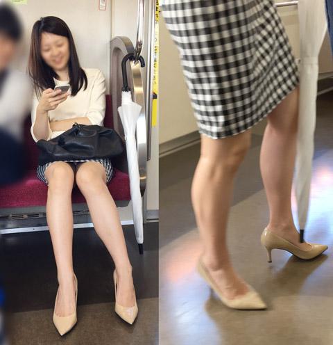 彼氏が隣にいる状態で純白パ○ツを見せてくれる最高級美脚の清楚系お姉さん
