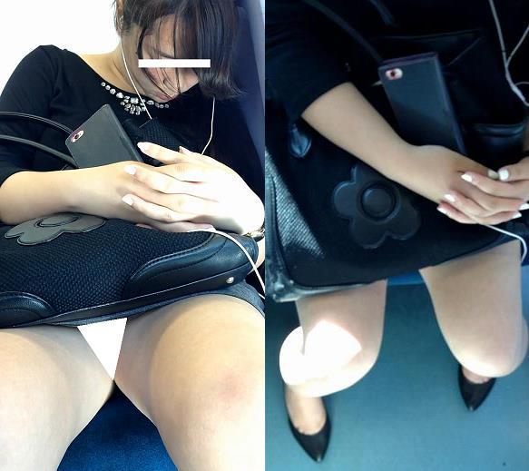 (電車対面)(顔出し)死ぬほどお疲れ?のOLさん…タイトスカートなのにパンストお股をフルオープン…その定点観測記…です