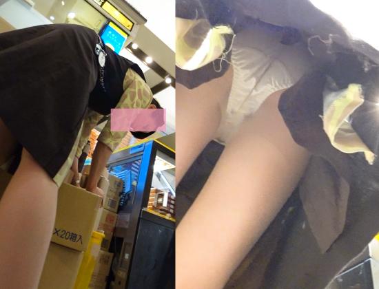 新フルHD高画質パンチラ逆さ撮り250 独特のコスチューム店員さんのお仕事!屈み&大開脚連発!