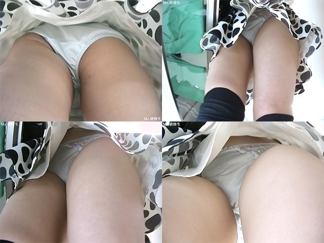 96 黒水玉スカート店員さん 超モロ