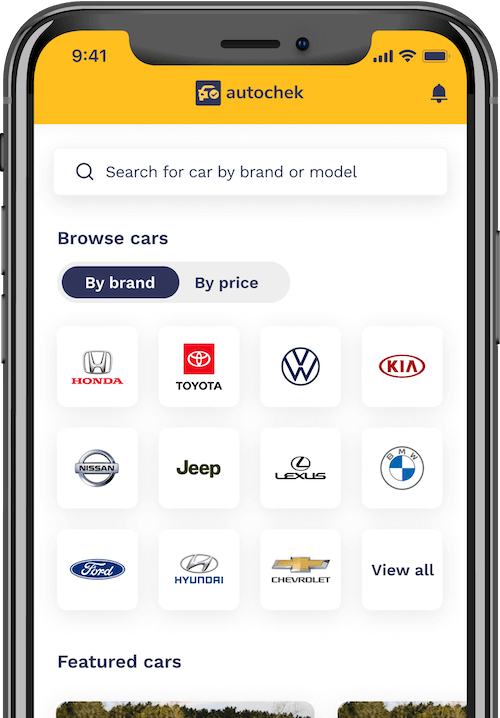 Iphone x mobile phone showing the autochek mobile app for buying cars buy brand and price