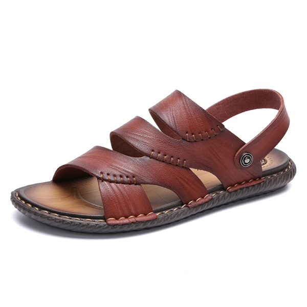 24757d34f8887 Men Opened Toe Breathable Soft Water Friendly Leather Sandals