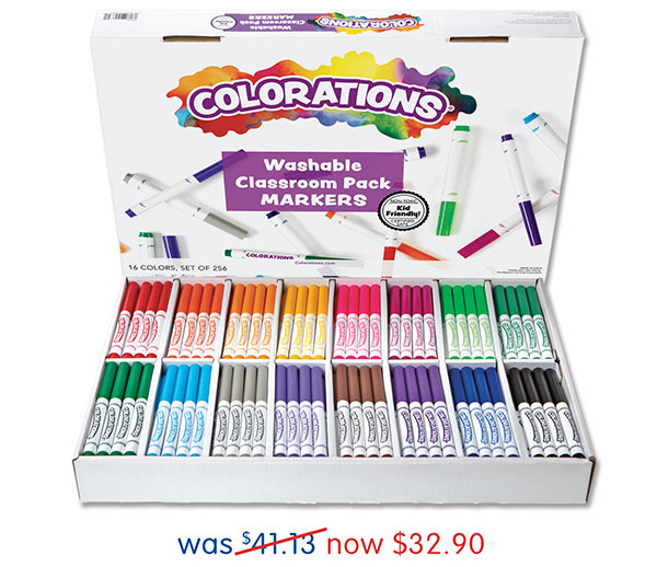 256 Colorations® Washable Classic Markers Classroom Pack, was $41.13 now $32.90